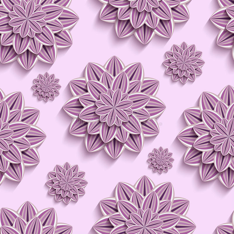 Nahtloses Muster mit purpurroten Papierblumen 3d vektor abbildung