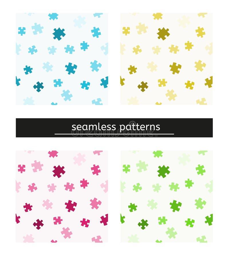 Nahtloses Muster mit Puzzlespielstücken lizenzfreie abbildung