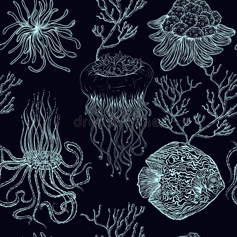 Nahtloses Muster mit Quallen, tropischen Fischen, Marineanlagen und Korallen Vektor-Illustrationsmeeresflora und -fauna der Weinl lizenzfreie abbildung