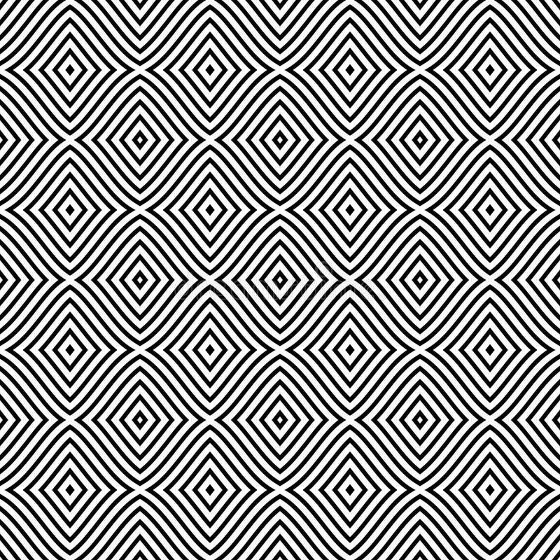 Nahtloses Muster mit Rauten, Streifen, Linien Wiederholbares Design für Dekor, Gewebe, Teppich, Verpackung lizenzfreie abbildung