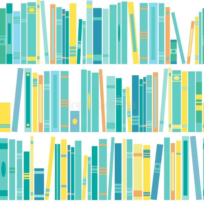 Nahtloses Muster mit Regal von Büchern auf weißem Hintergrund Flache Ablesentapete stock abbildung