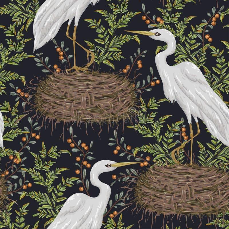 Nahtloses Muster mit Reihervogel, Nest und Sumpfanlagen Sumpfflora und -fauna vektor abbildung