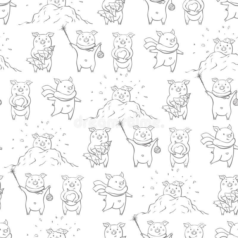 Nahtloses Muster mit reizenden netten netten piggies Gezogene Art des Winterhintergrundes in der Hand lizenzfreie abbildung