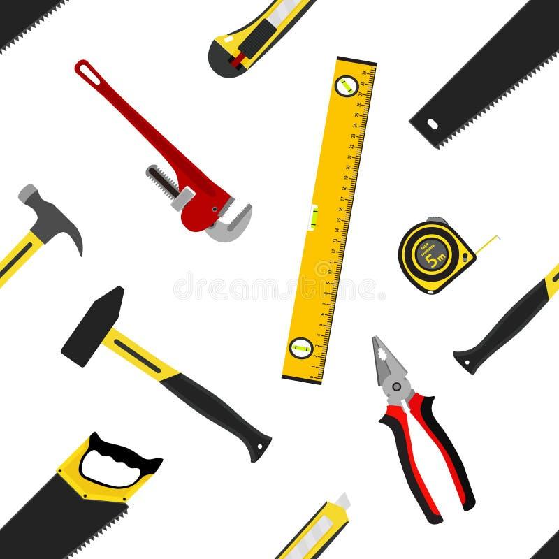 Nahtloses Muster mit Reparaturarbeitsgeräten in der flachen Art stock abbildung