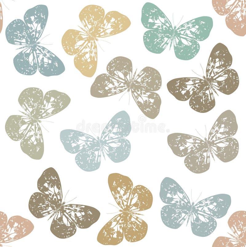 Nahtloses Muster mit Retro- Schmetterling und weißem Hintergrund stock abbildung