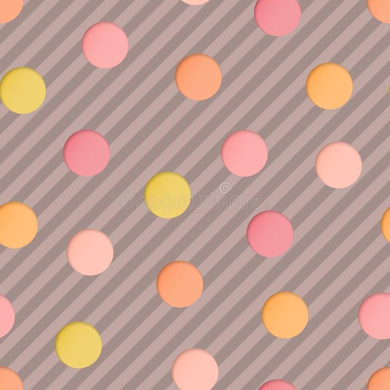 Nahtloses Muster mit Rosa, beige, gelbes Papier schnitt Kreise auf Brown streifte Hintergrund lizenzfreie abbildung