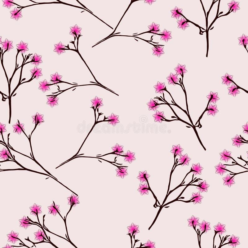 Nahtloses Muster mit rosa Blume auf rosa Hintergrund lizenzfreies stockbild