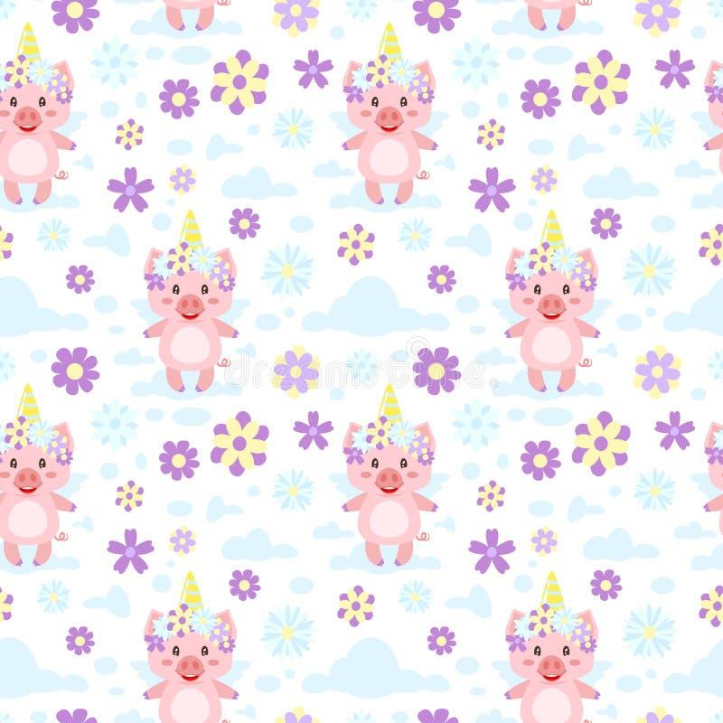 Nahtloses Muster mit rosa Schwein lizenzfreie abbildung
