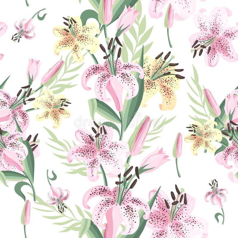 Nahtloses Muster mit rosa und gelber Lilie Vektor lizenzfreie abbildung