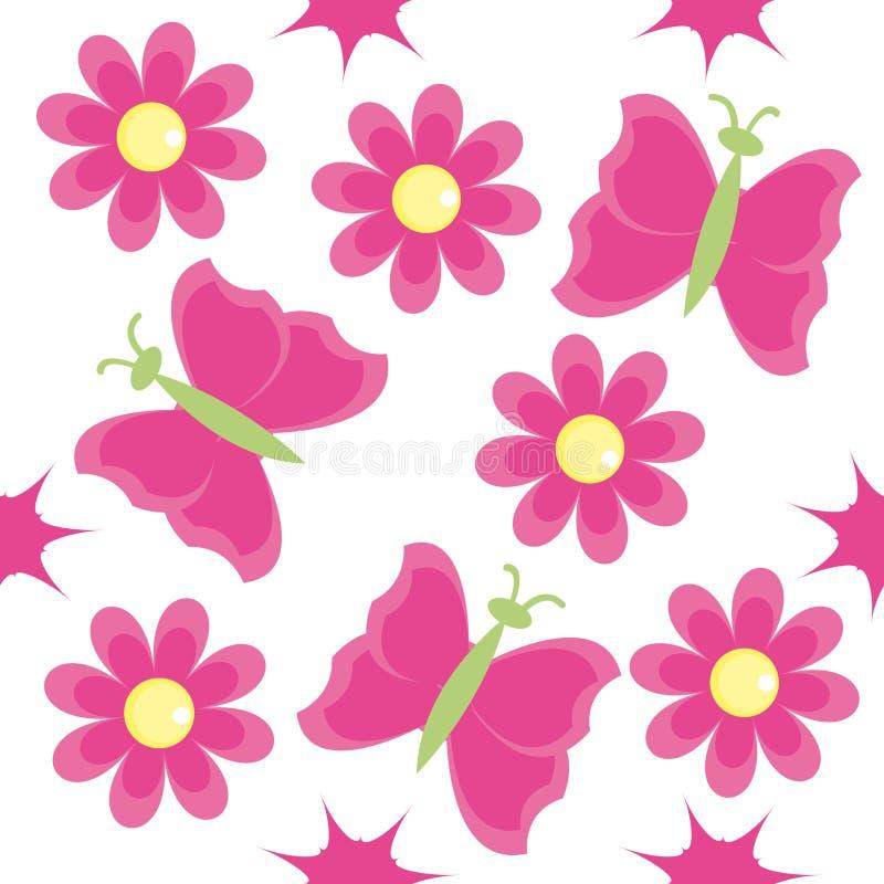 Nahtloses Muster mit rosafarbenen Blumen stock abbildung