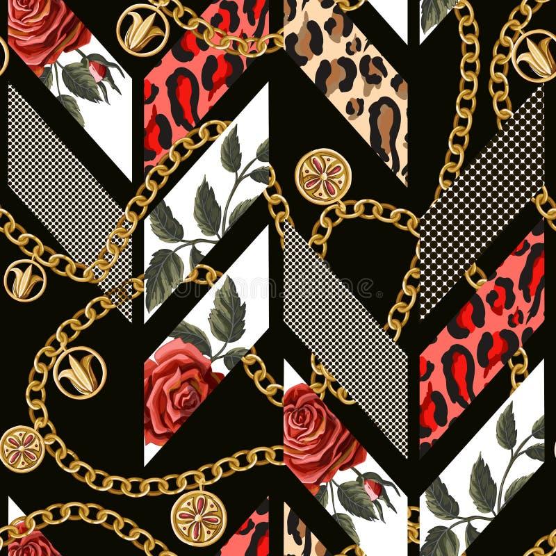 Nahtloses Muster mit Rosen, Leopardhaut, Punkten und Ketten Geometrischer modischer Entwurf lizenzfreie abbildung