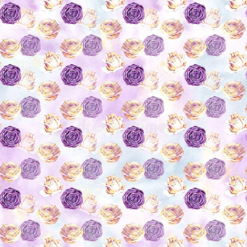 Nahtloses Muster mit Rosenmuster für Gewebe und Tapete, für Entwurf und Dekoration stock abbildung