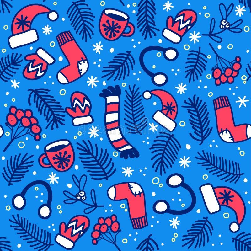Nahtloses Muster mit roten Handschuhen, Socken, Hüten und Immergrün verzweigt sich auf blauen Hintergrund vektor abbildung