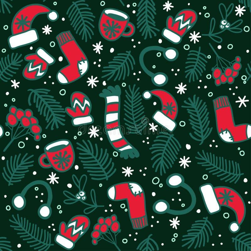 Nahtloses Muster mit roten Handschuhen, Socken, Hüten und Immergrün verzweigt sich auf dunklen Hintergrund vektor abbildung