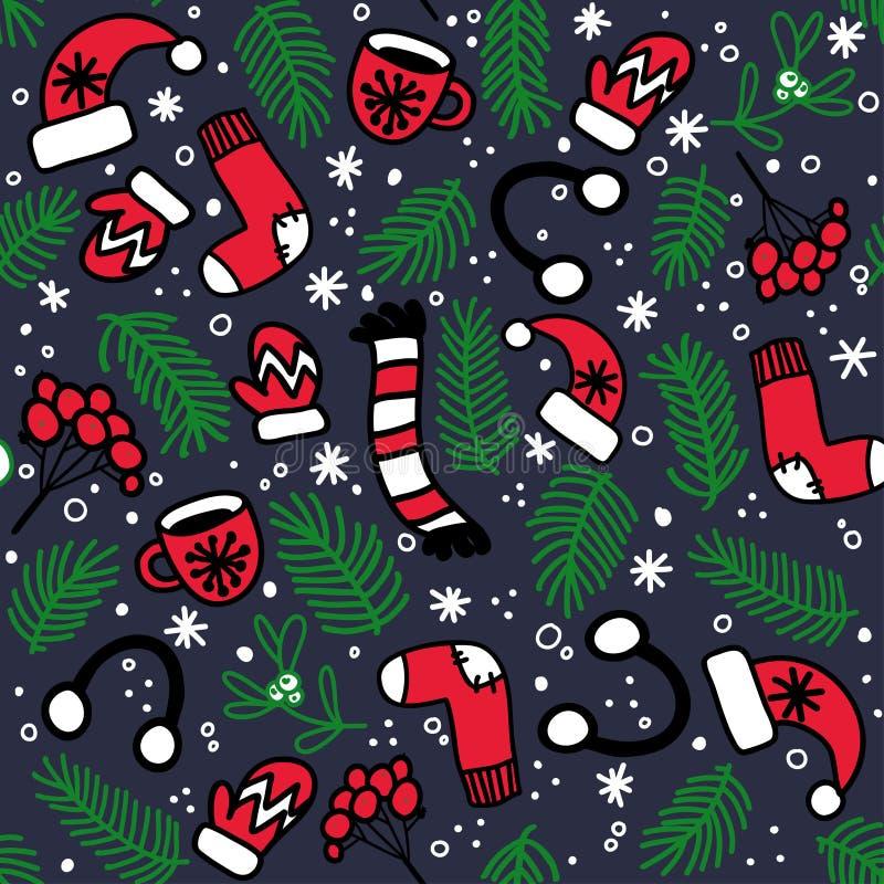 Nahtloses Muster mit roten Handschuhen, Socken, Hüten und Immergrün verzweigt sich auf dunklen Hintergrund stock abbildung