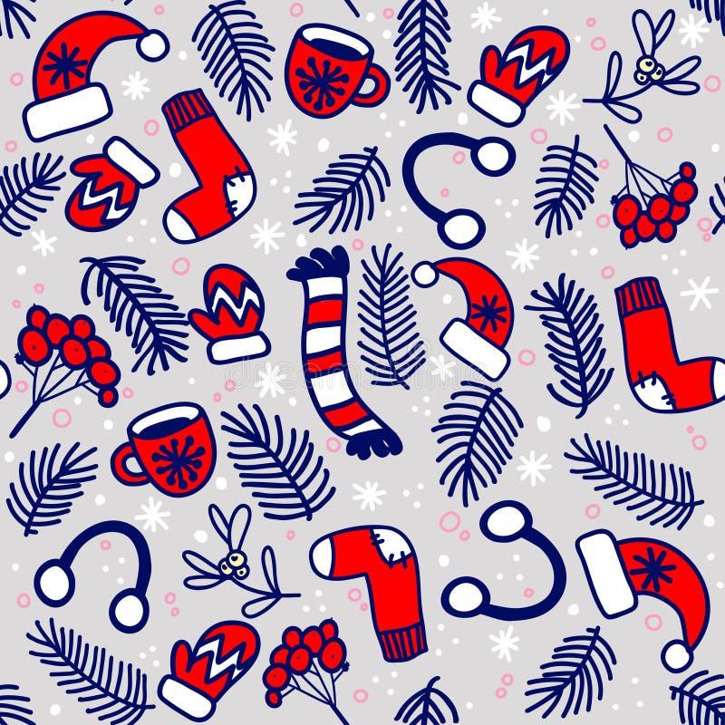 Nahtloses Muster mit roten Handschuhen, Socken, Hüten und Immergrün verzweigt sich auf grauen Hintergrund lizenzfreie abbildung