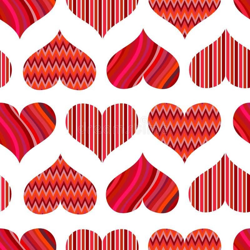 Nahtloses Muster mit roten Inneren Verschiedene rote Herzen auf einem weißen Hintergrund lizenzfreie abbildung