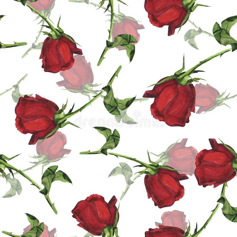 Nahtloses Muster mit roten Rosen des Gartens Dekoratives Bild einer Flugwesenschwalbe ein Blatt Papier in seinem Schnabel lizenzfreie stockfotos