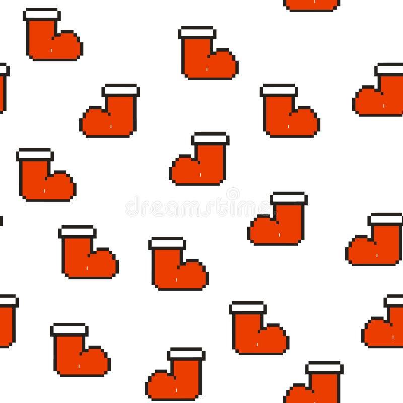 Nahtloses Muster mit roten Socken für Geschenke Weihnachten, Hintergrund des neuen Jahres, Vektorillustration Pixelkunst vektor abbildung