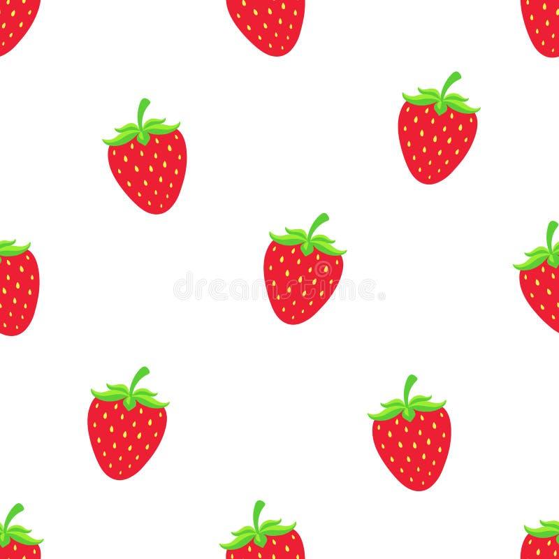 Nahtloses Muster mit süßer roter Erdbeere mit einem Stamm stock abbildung