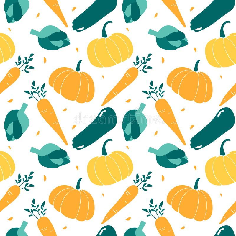 Nahtloses Muster mit Saisongemüse - Zucchini, Kürbis, Artischocke, Karotte lizenzfreie abbildung