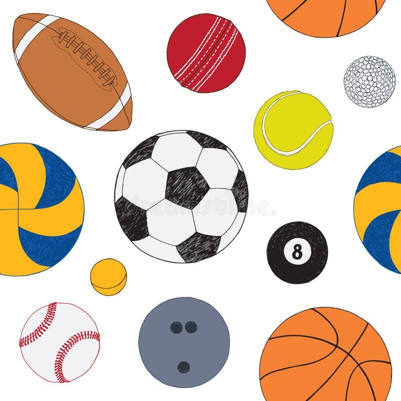 Nahtloses Muster mit Satz Sportbällen Hand gezeichnete farbige Vektorskizze Weißer Hintergrund Muster eingeschlossen vektor abbildung