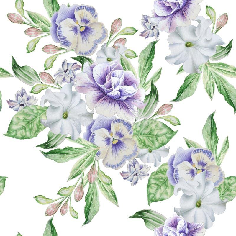 Nahtloses Muster mit schönen Blumen petunie pansies lizenzfreie abbildung