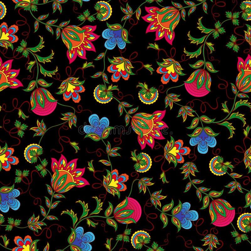 Nahtloses Muster mit schönen Farbblumen stock abbildung