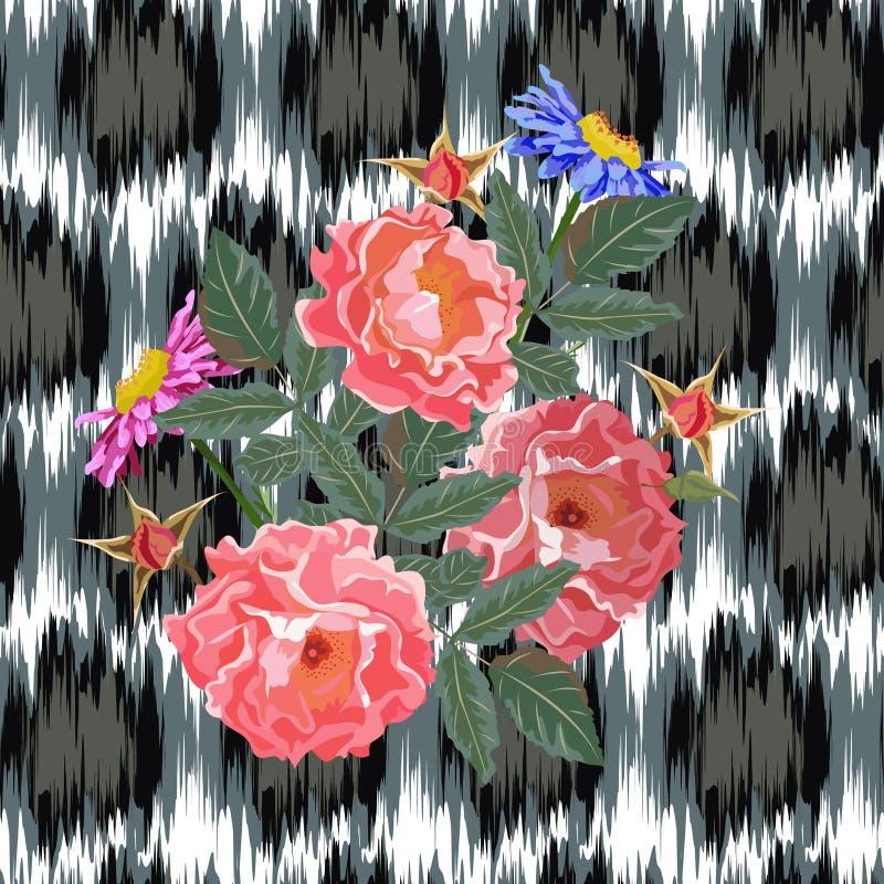 Nahtloses Muster mit schönen wilden Rosen auf abstraktem backgroun lizenzfreie abbildung