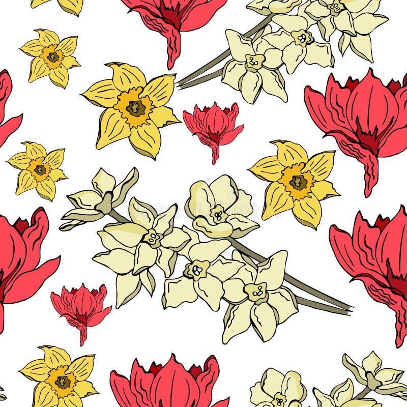 Nahtloses Muster mit schöner Jonquilleblume stock abbildung