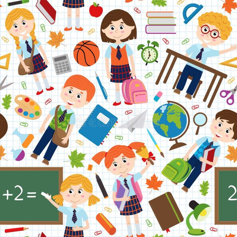 Nahtloses Muster mit Schülern und Schulbedarf vektor abbildung