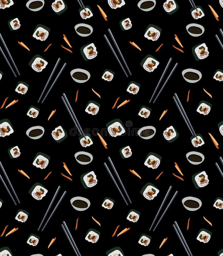 Nahtloses Muster mit Scheiben von gimbap in den Hiebstöcken mit Sojasoße auf schwarzem Hintergrund stock abbildung