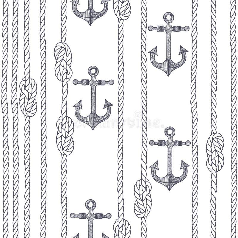 Nahtloses Muster mit Schiffstau, Knoten und Ankern auf einem Weiß lizenzfreie abbildung