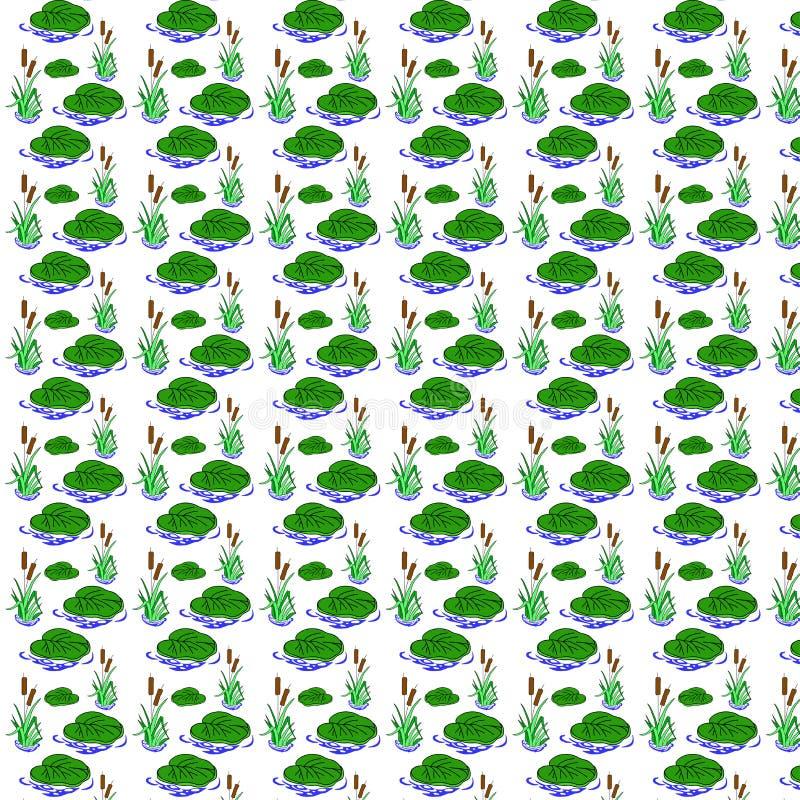 Nahtloses Muster mit Schilfen und Seerosen vektor abbildung