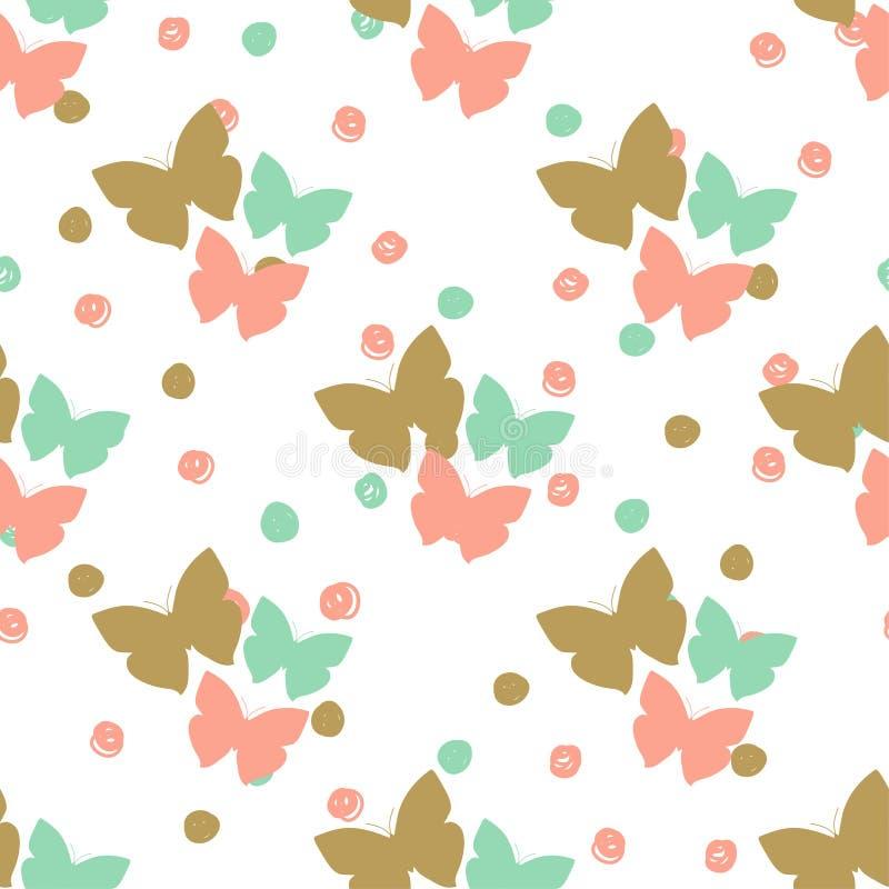 Nahtloses Muster Mit Schmetterlingen Und Punkten Kann Für Gewebe ...