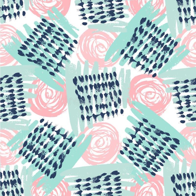 Nahtloses Muster mit Schmutzbeschaffenheiten Hand gezeichneter Modehippie-Hintergrund Vektor für Druck, Gewebe, Gewebe, Einladung lizenzfreie abbildung