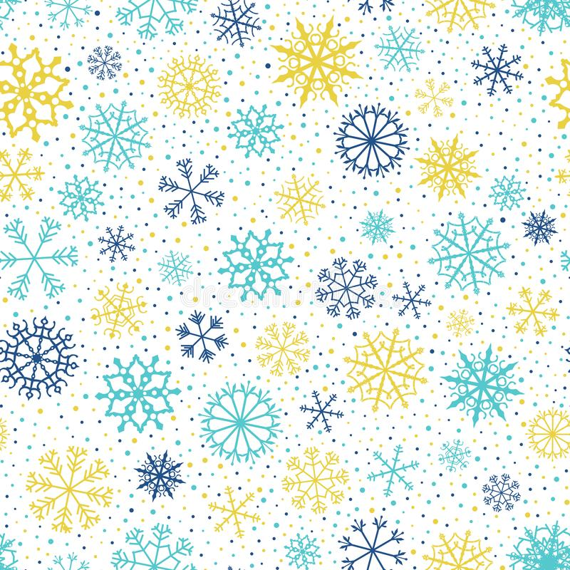 Nahtloses Muster mit Schneeflocken für Winter und Weihnachtshintergründe lizenzfreie abbildung