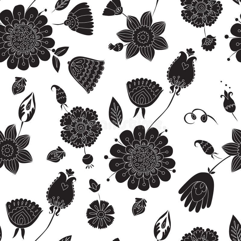 Nahtloses Muster mit schwarzen Blumen auf einem weißen Hintergrund vektor abbildung