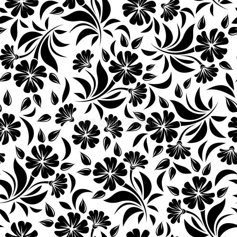 Nahtloses Muster mit schwarzen Blumen auf einem weißen Hintergrund Auch im corel abgehobenen Betrag stock abbildung