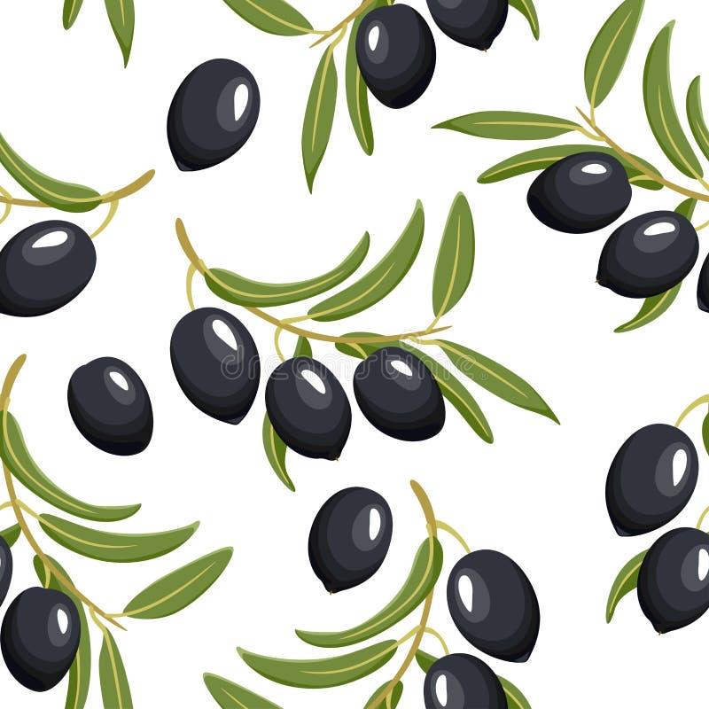 Nahtloses Muster mit schwarzen Oliven und grünen Blättern vektor abbildung