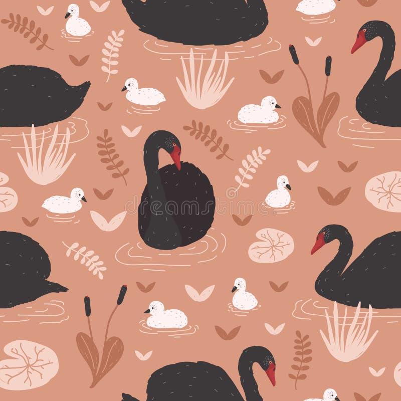 Nahtloses Muster mit schwarzen Schwänen und Brut von den Cygnets, die in Teich oder in See unter Seerosen und Schilfen schwimmen  lizenzfreie abbildung