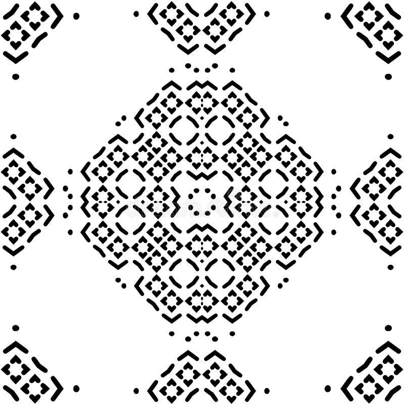 Nahtloses Muster mit Schwarzweiss-Mosaikverzierung Abstrakte Blumenhintergrundvektorabbildung vektor abbildung