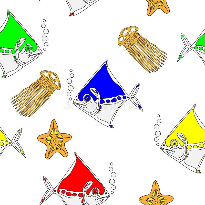 Nahtloses Muster mit Seetieren stock abbildung
