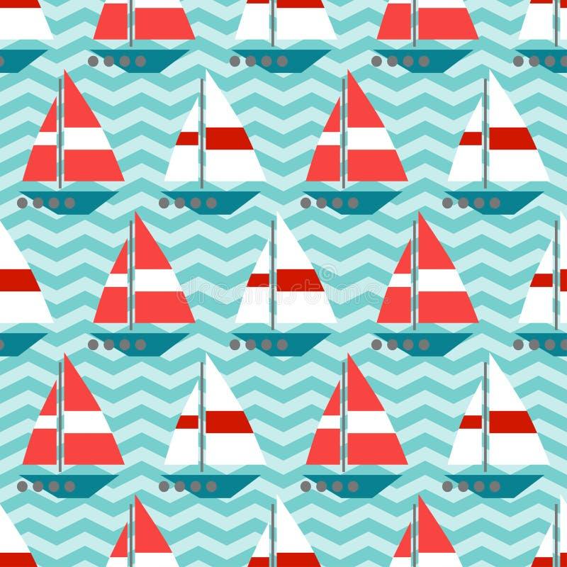 Nahtloses Muster mit Segelbooten auf den Wellen stock abbildung