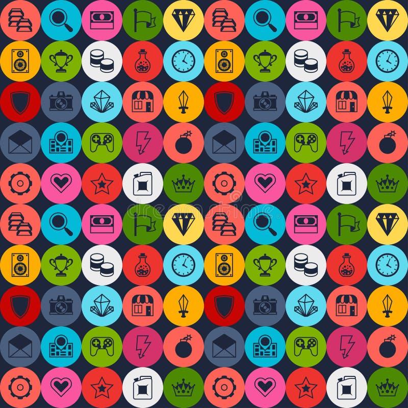 Nahtloses Muster mit Spielikonen im flachen Design vektor abbildung
