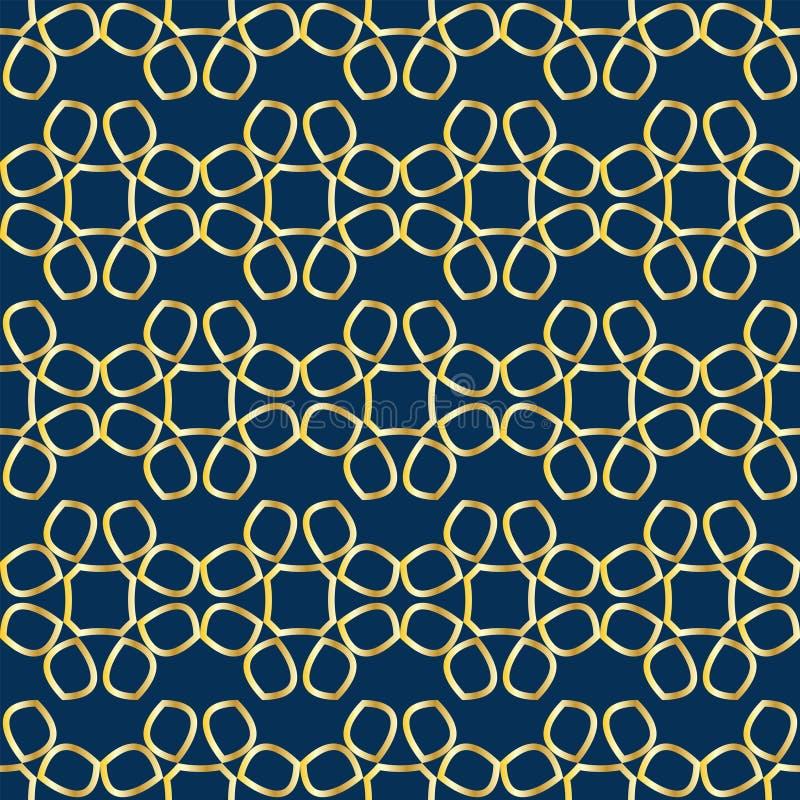 Nahtloses Muster mit Spitze von goldenen abstrakten Blumen auf blauem Hintergrund lizenzfreie abbildung
