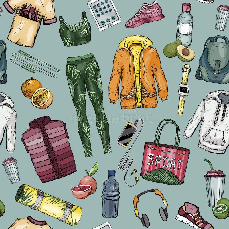 Nahtloses Muster mit Sportkleidung und gesundem Lebensstilsatz vektor abbildung