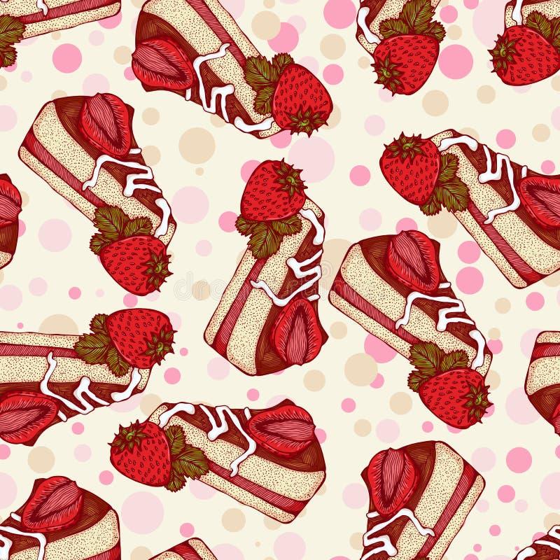 Nahtloses Muster mit Stücken des Kuchens mit Erdbeeren lizenzfreie abbildung