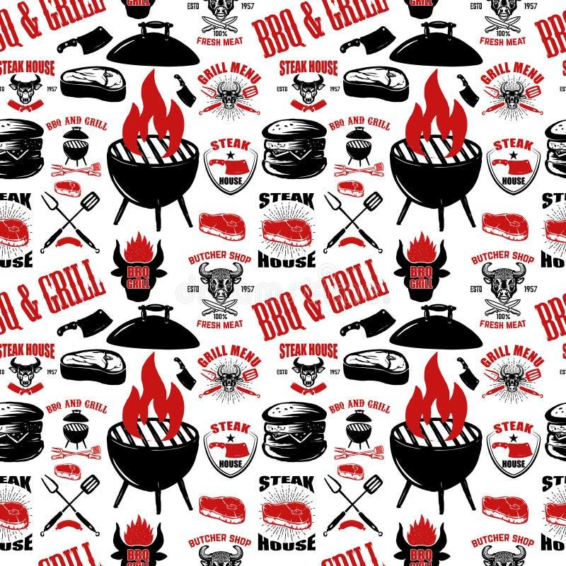 Nahtloses Muster mit Steakhaussymbolen Grill, bbq, Frischfleisch Gestaltungselement für Plakat, Menü, Flieger, Fahne, Menü, Paket vektor abbildung