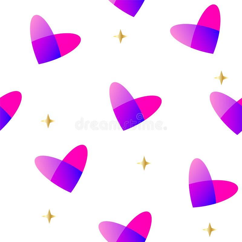 Nahtloses Muster mit Steigungszusammenfassungsherzen und goldenen Sternen Vektorhintergrund für Valentinsgruß ` s Tag lizenzfreie abbildung